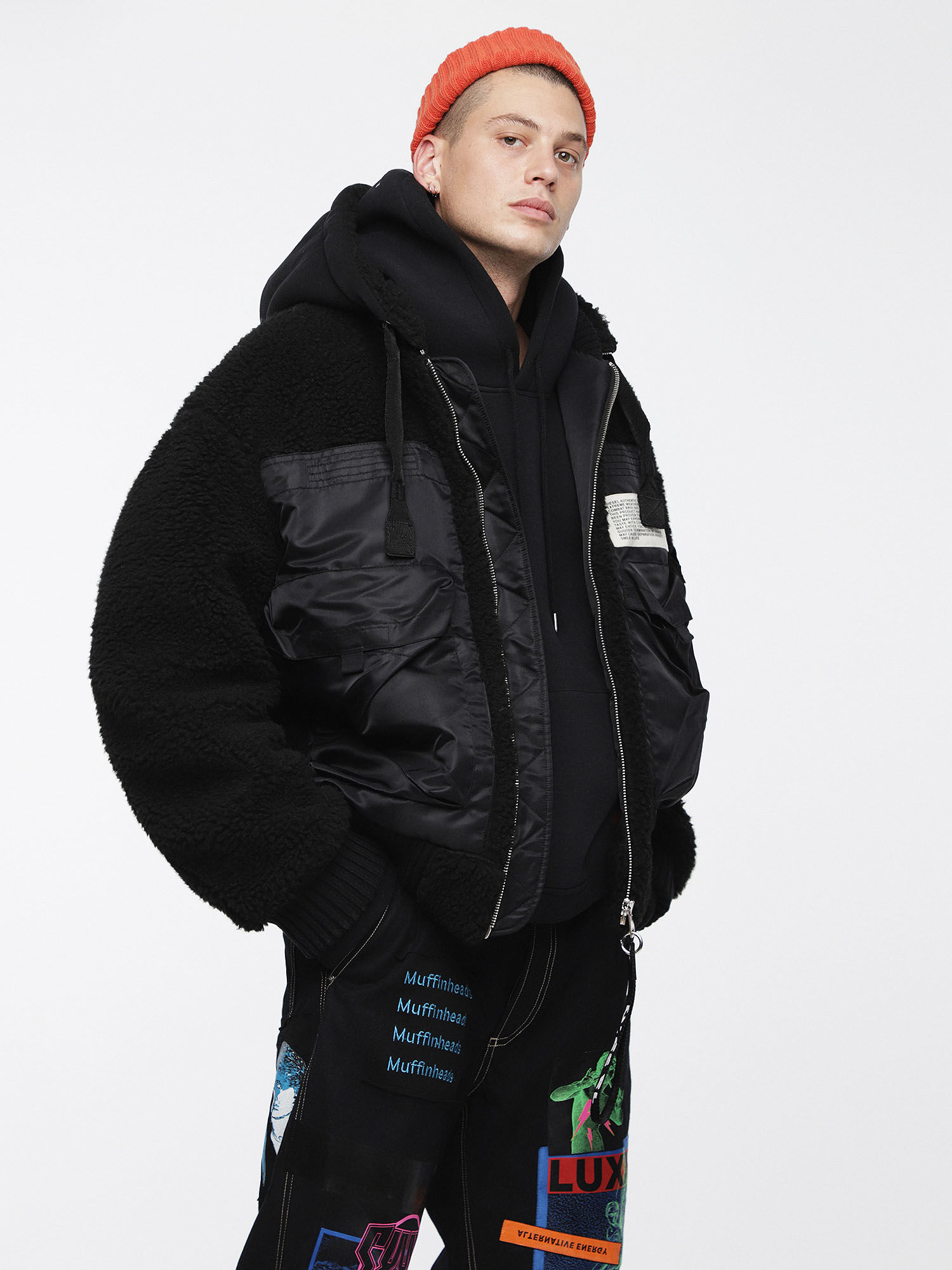 Winter jacket with teddy lining black GLQWSCA