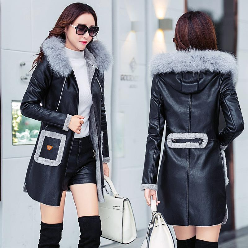 Winter Leather Jacket Women 2018 faux sheepskin coat 2018 fashion new autumn winter leather jacket women  thick MIHGRSB