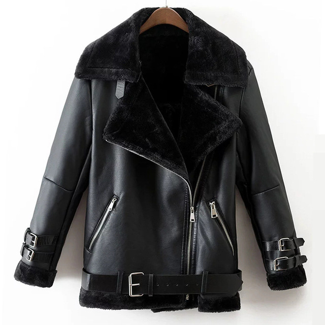 Winter Leather Jacket Women faux leather suede coat aviator black leather jacket winter warm lambs wool  fur QDCHFPS