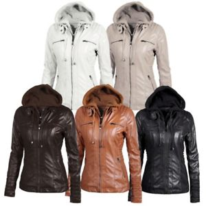 Winter Leather Jacket Women image is loading women-hooded-bomber-jacket-parka-zip-lapel-coat- MTNSDFN