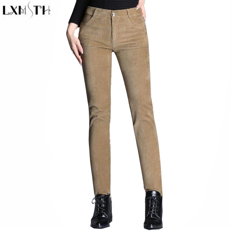 Women's Corduroy Pants 2018 lxmsth factory outlet corduroy pants womens autumn new pencil trousers  women 2017 VBOFYOZ