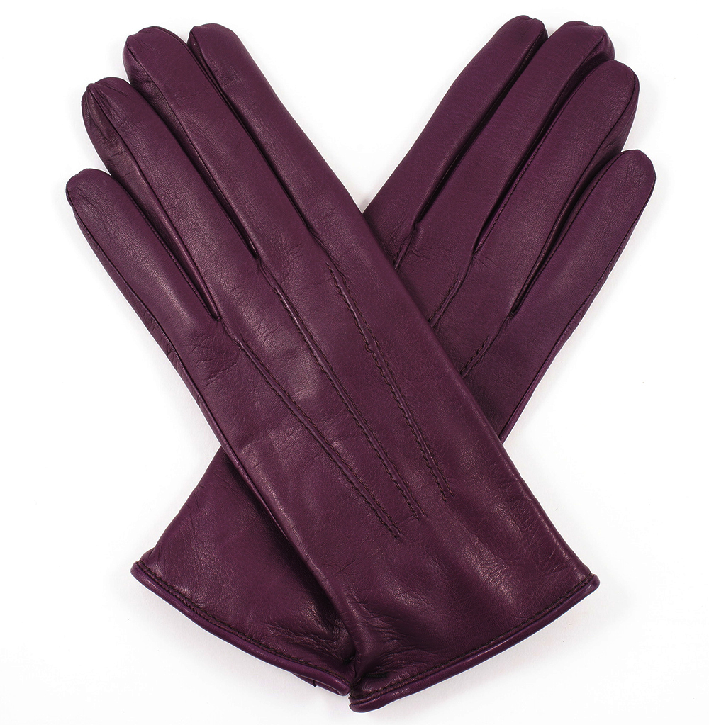 Women's Gloves womens plum leather gloves - cashmere lining VXDQVOO