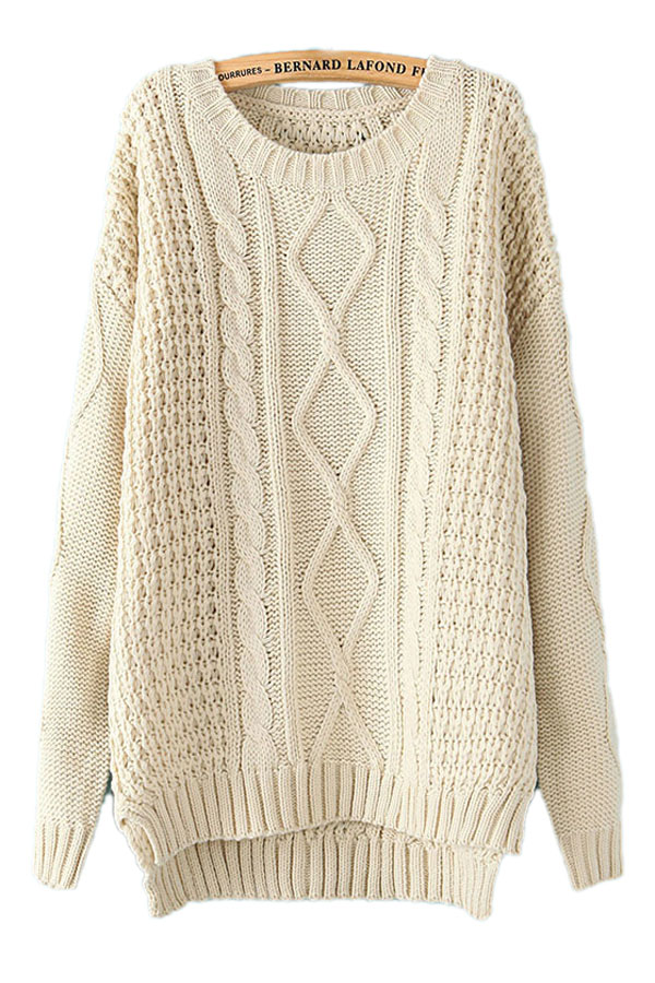 Womens Knit Sweaters beige white diamond cable knit sweater winter sweaters for women VRWPAPF