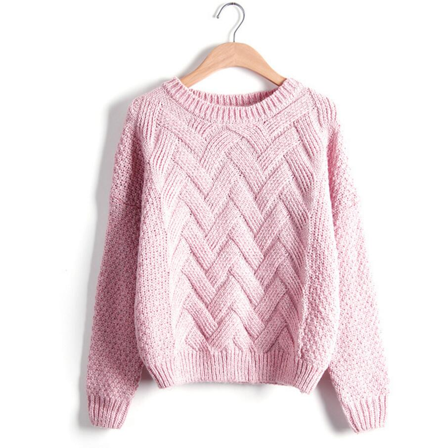 Womens Knit Sweaters knitted sweater autumn winter fashion designer twist chunky cable plaid  thick knitted jumper IGFFBHT