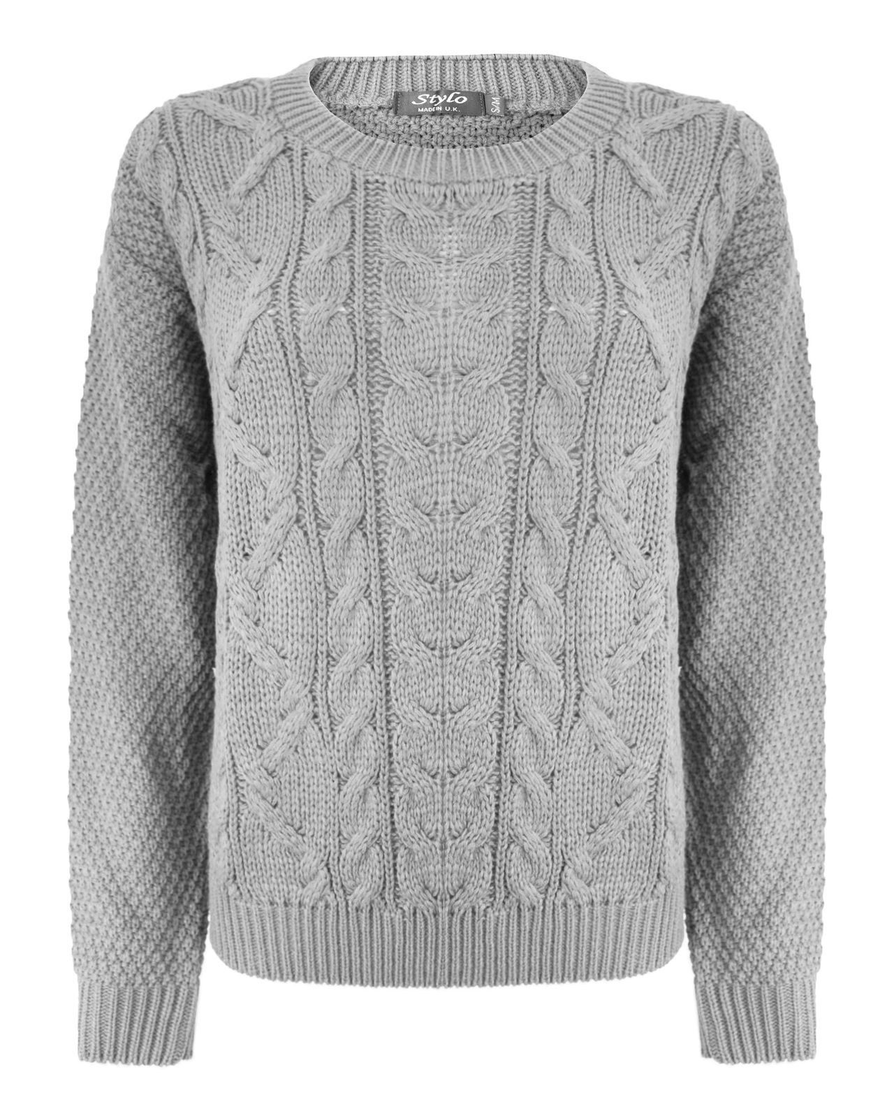 Womens Knit Sweaters new-ladies-women-crew-neck-cable-knitted-chunky- SYMENHA
