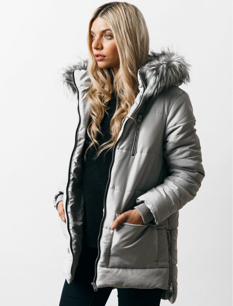 womens parka coats with fur hood oqena quilted parka coat with detachable fur trim hood in silver sconce – OEMUILJ