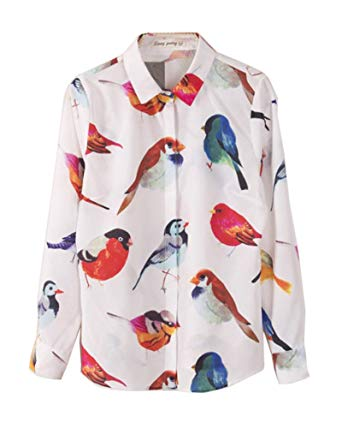 Womens Print Shirts habozoo womens colorful bird print lapel blouse shirt large ZTZIBNL