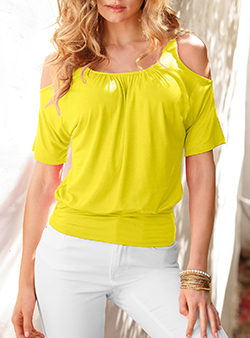 Yellow blouses short sleeve cold shoulder blouse NZDHZXQ