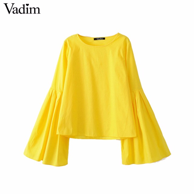 Yellow blouses vadim women stylish flare sleeve pleated yellow blouses sweet o neck solid  shirts ladies casual MOAUZJN