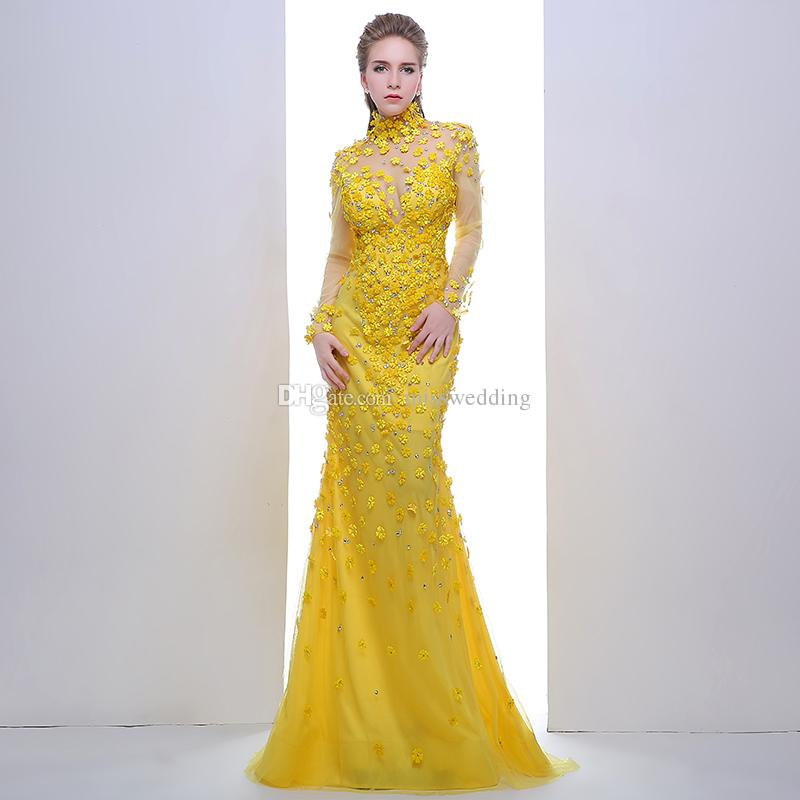 YELLOW EVENING DRESSES latest designer yellow evening dress with beaded flowers full sleeve  elegant mermaid dress PUWNUKN