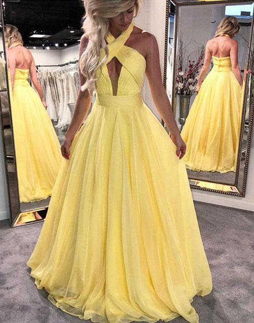 YELLOW EVENING DRESSES unique yellow chiffon log prom dress, yellow evening dress EALQOYS