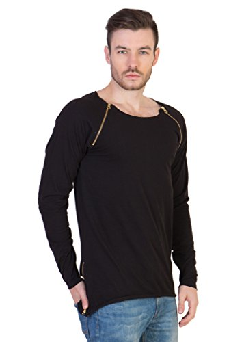 Zipped T-shirts acomharc solid full sleeve crew neck zipped t-shirt with contrast leather  patch buy acomharc EYMDGQI