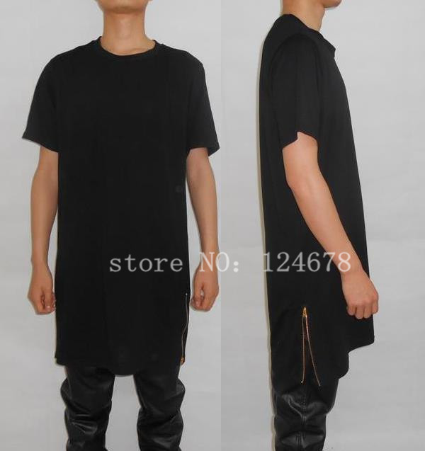Zipped T-shirts men long zip t shirt oversized extend drop t shirt side gold zipper tee-in t -shirts YPNRQVQ