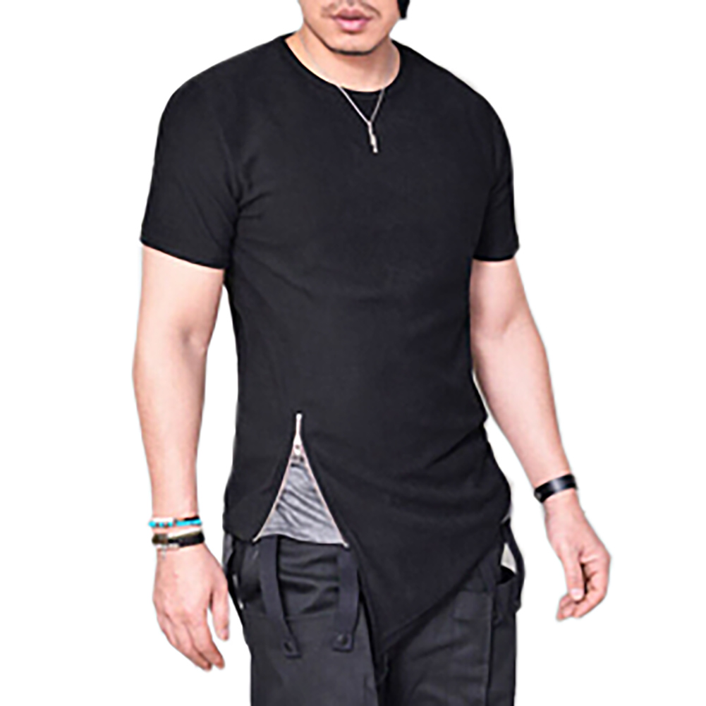 Zipped T-shirts summer zipper tee shirt mid sharp swag hem tshirt men streetwear fashion  asymmetrical men side OVXBCYW