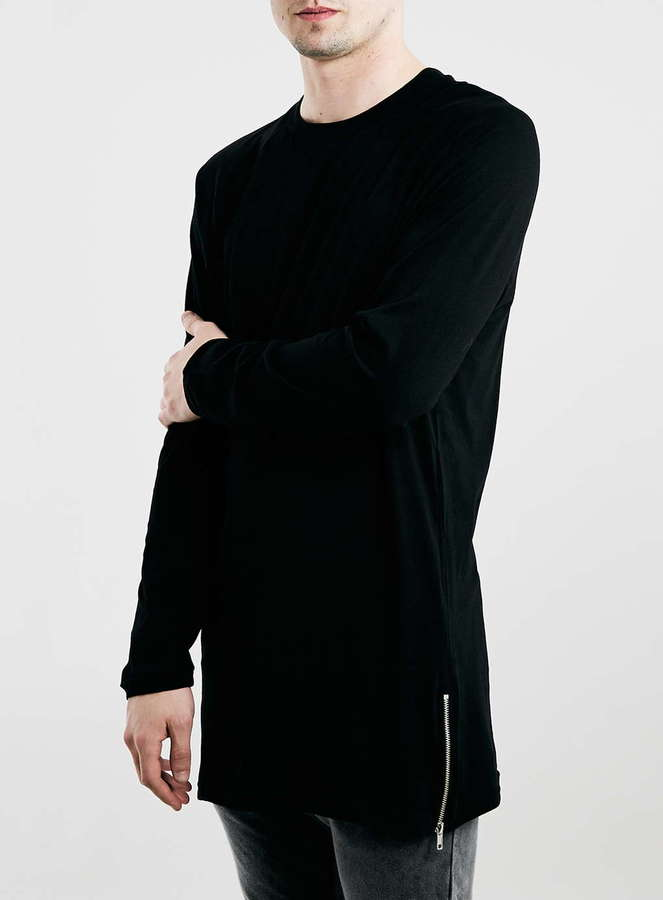 Zipped T-shirts ... topman black longline zip hem raglan long sleeve t shirt ... XHAEEUC