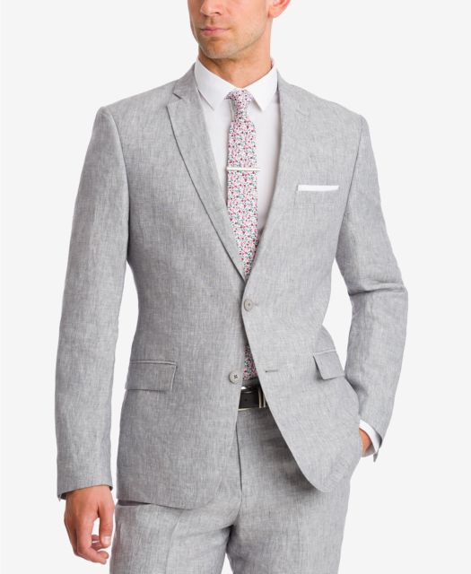 $521 BAR III men GRAY SLIM-FIT 2 BUTTON SUIT LINEN JACKET SPORT COAT BLAZER