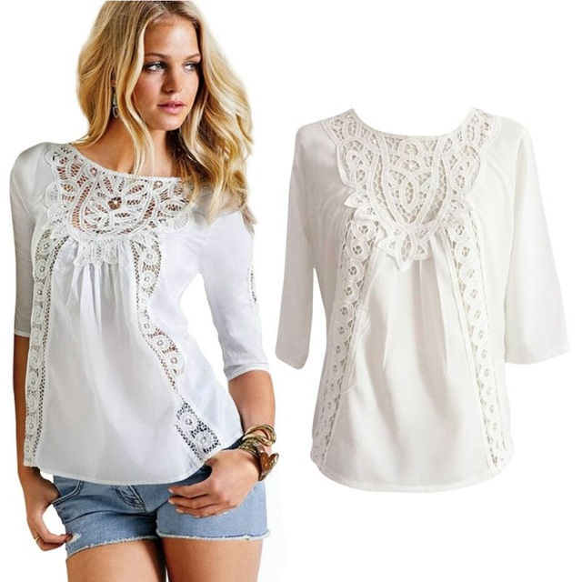 Newest Women Blouse Loose Casual Lace Crochet Chiffon 3/4 Sleeve Shirt  White Tops