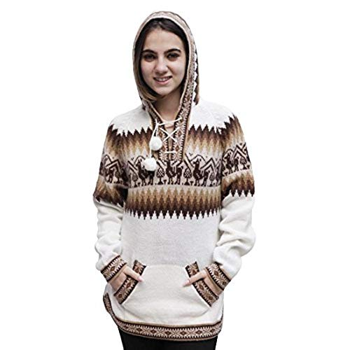 Women's Hooded Alpaca Wool Knitted Hoodie Sweater Llamas Ethnic Design (XL,  Ivory)