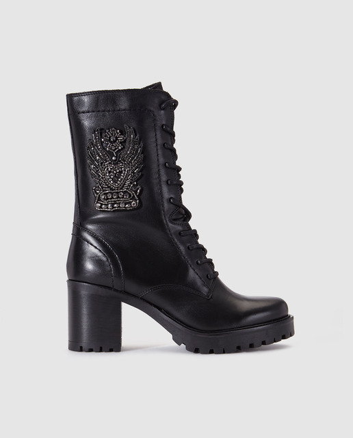 Alpe women's black boots with decorative beads