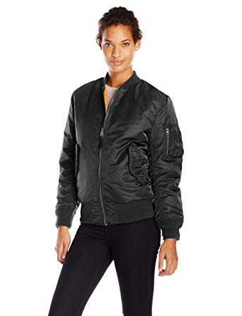 Alpha Industries Women's Ma-1 Flight Nylon Reversible Bomber Jacket, Black,  X-