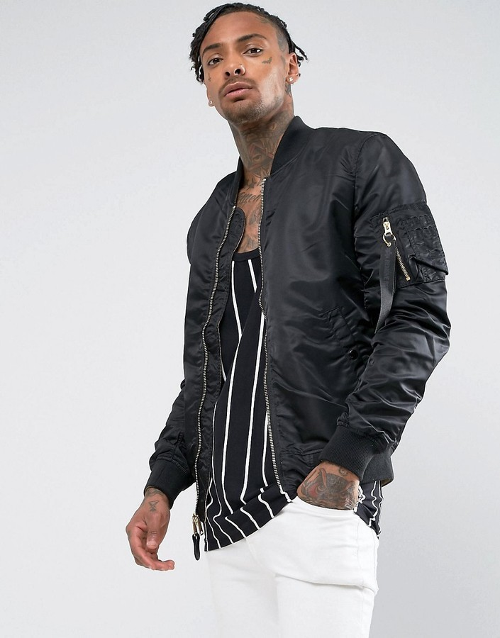 ... Alpha Industries Lightweight Reversible Ma 1 Vf Bomber Jacket In Black  Gold ...