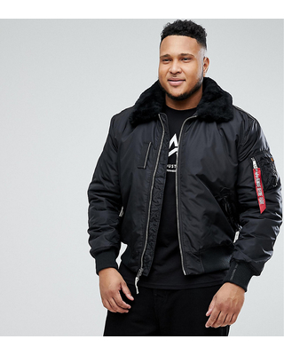 Alpha Industries PLUS Bomber Jacket Shearling Collar in Black - Black