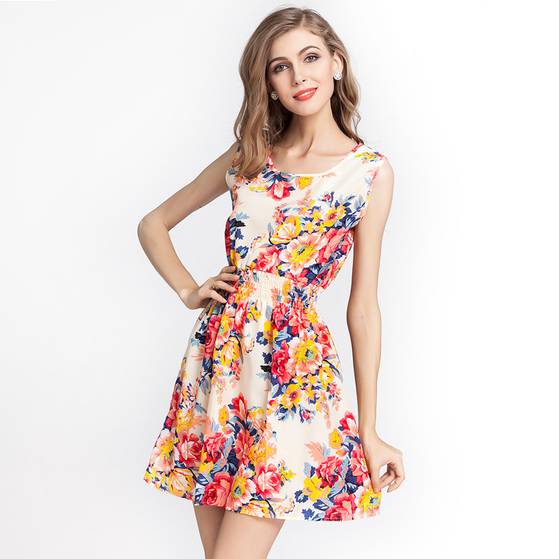 NEW Fashion 2015 Women chiffon dresses Apricot Sleeveless Round Neck  Florals Print Pleated Dress Femininas Summer ...