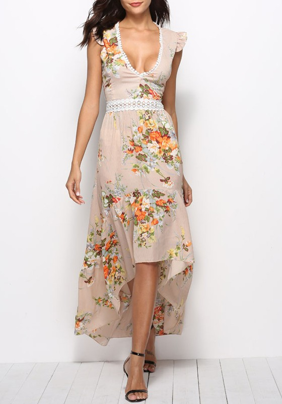 Apricot Irregular Lace Cut Out Backless High-low Deep V-neck Bohemian Maxi  Dress
