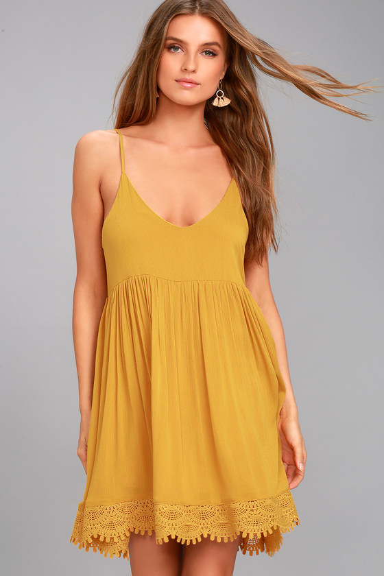 Rhiannon Mustard Yellow Lace Baby Doll Dress