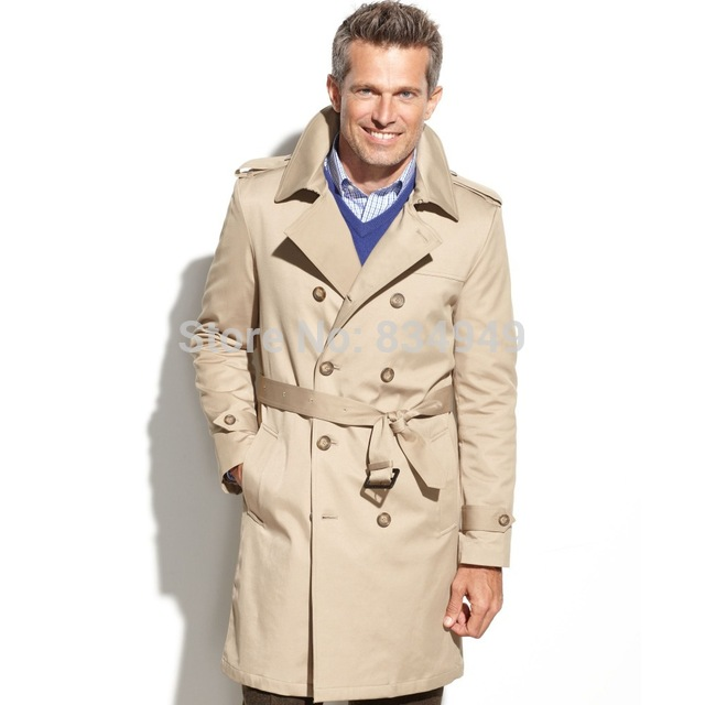 Custom Made Beige Trench Coat Men, Double Breasted Winter Overcoat Men Long  Coat, Cashmere