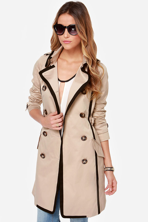 Whatever Floats Your Coat Black and Beige Trench Coat