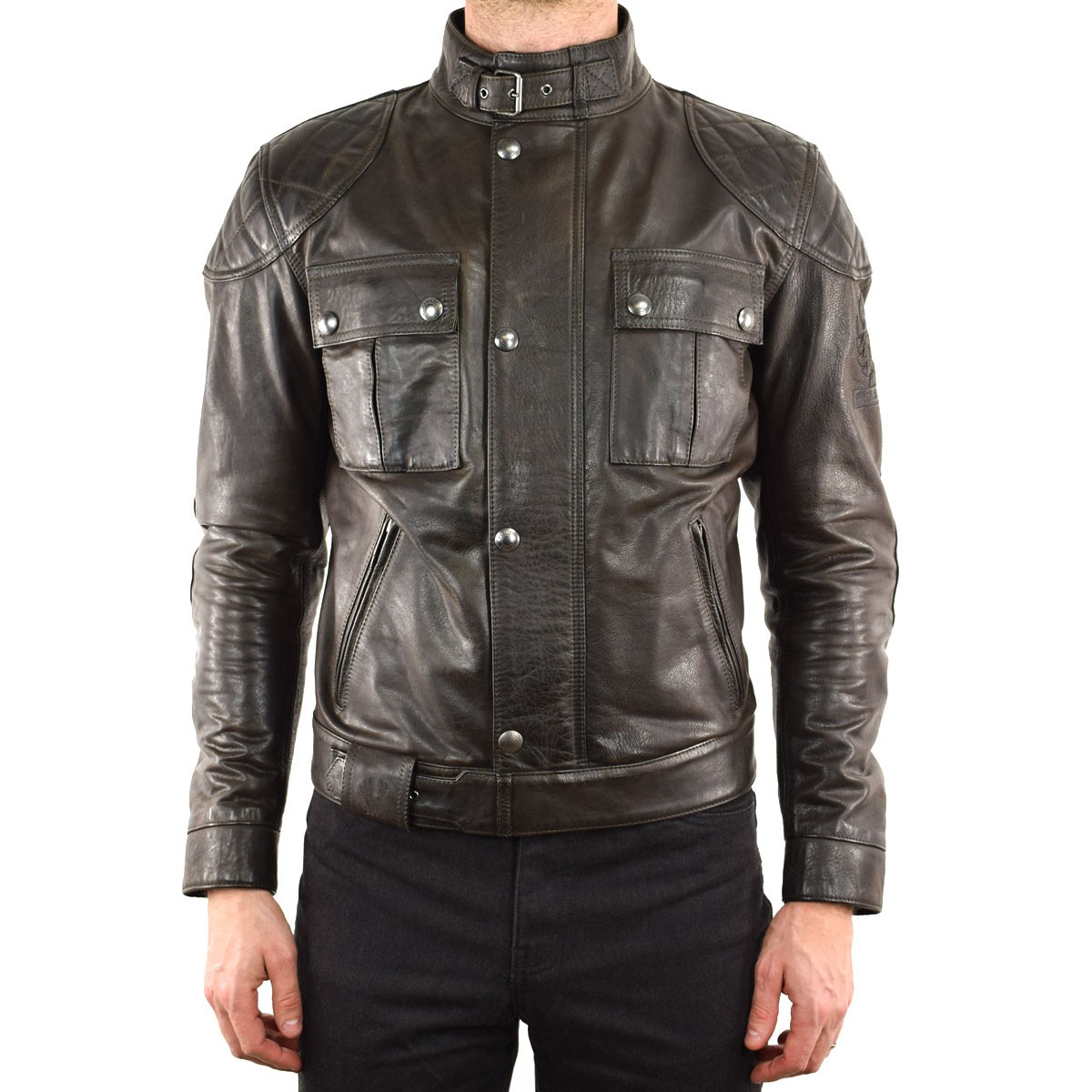 BELSTAFF BROOKLANDS MOJAVE LEATHER JACKET - BLACK BROWN FRONT ...