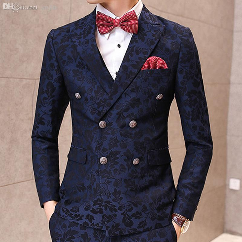 Wholesale-Mens Korean Stylish Wedding Blazer Black And Navy Color Luxury  Vintrage Baroque Floral Pattern Suit Jackets Jacket Tied Suit Jacket Sleeve  Length ...