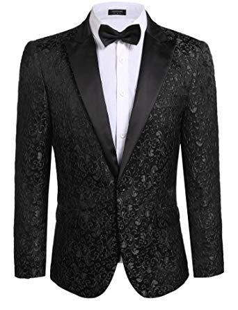 COOFANDY Men's Floral Party Dress Suit Stylish Dinner Jacket Wedding Blazer  One Button Tuxdeo,Black