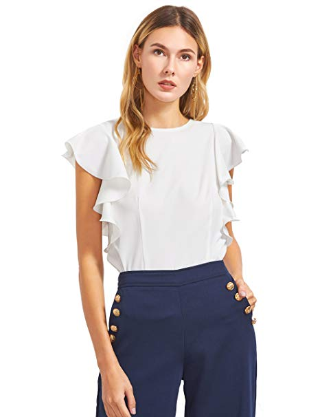 MAKEMECHIC Women's Solid Ruffle Sleeve Summer Tops and Blouses White XS