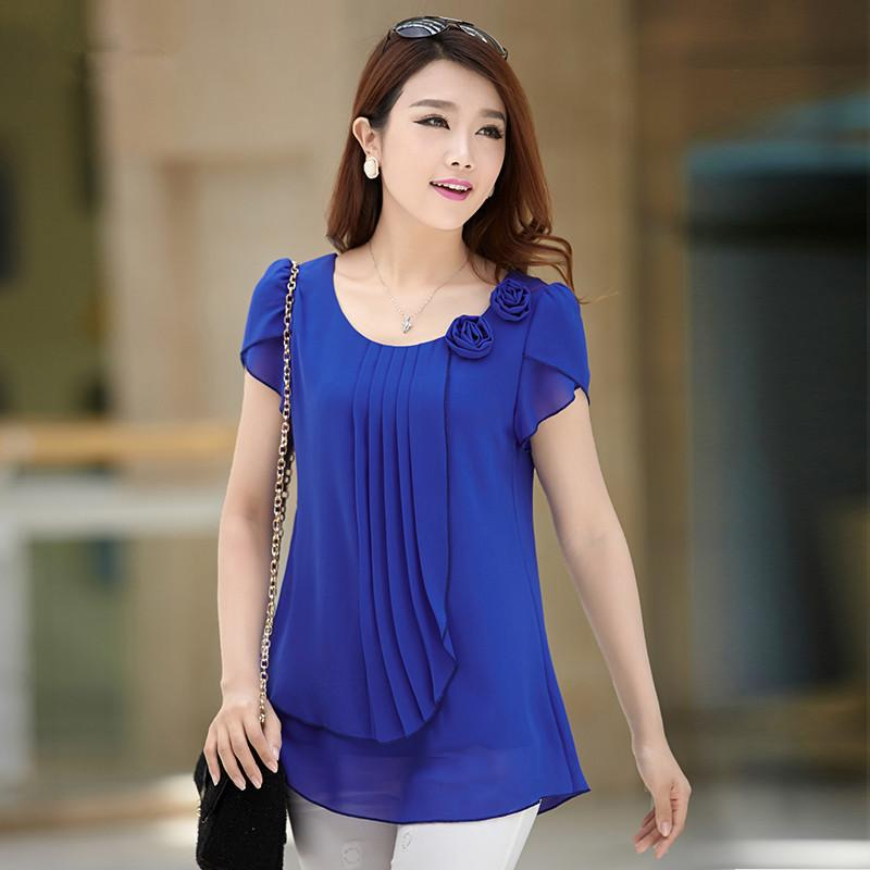 2019 Chiffon Blouse 2015 Summer Tops Women Casual Loose Blouses O Neck  Short Sleeve Shirt Blusas Plus Size Blusas Feminina 4XL From  Happyshoppingnow, ...