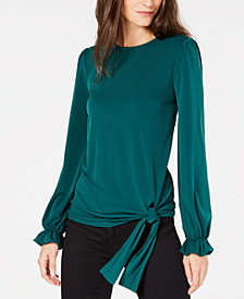 MICHAEL Michael Kors Statement-Sleeve Side-Tie Blouse, In Regular u0026 Petite  Sizes