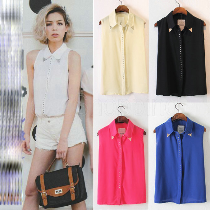 Q390 New Womens Ladies Sleeveless Casual Sexy See through Chiffon Blouses  Shirts Rivet Metal Decorated on ...
