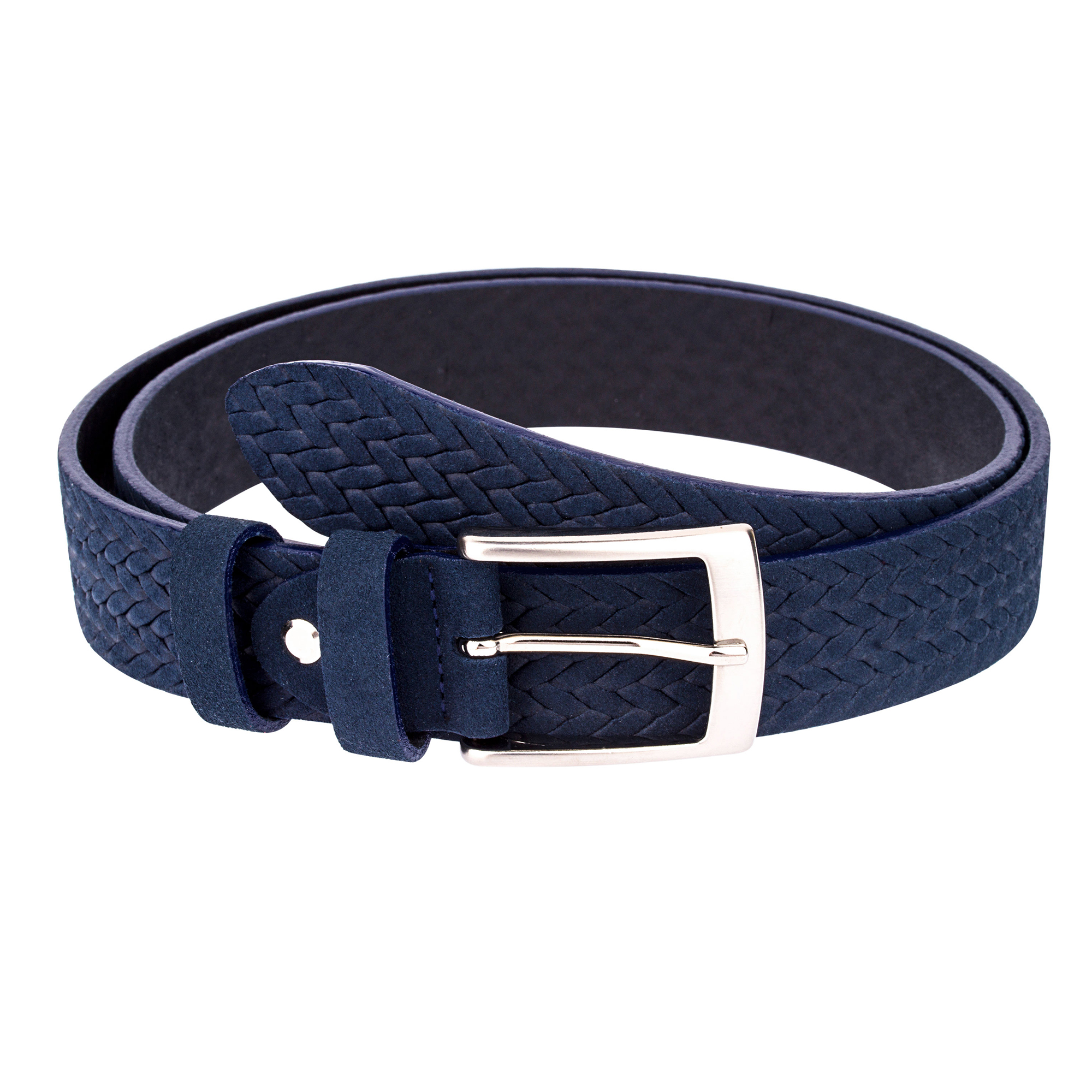 Capo Pelle Woven suede Leather belt Mens belts Women fashion Navy blue  First picture.jpg