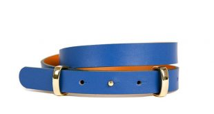 Skinny Electric Blue Double Bar Belt