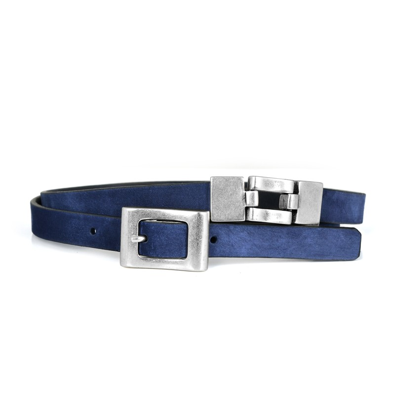 Nubuk Leather Belt For Women, Navy-Blue. Loading zoom