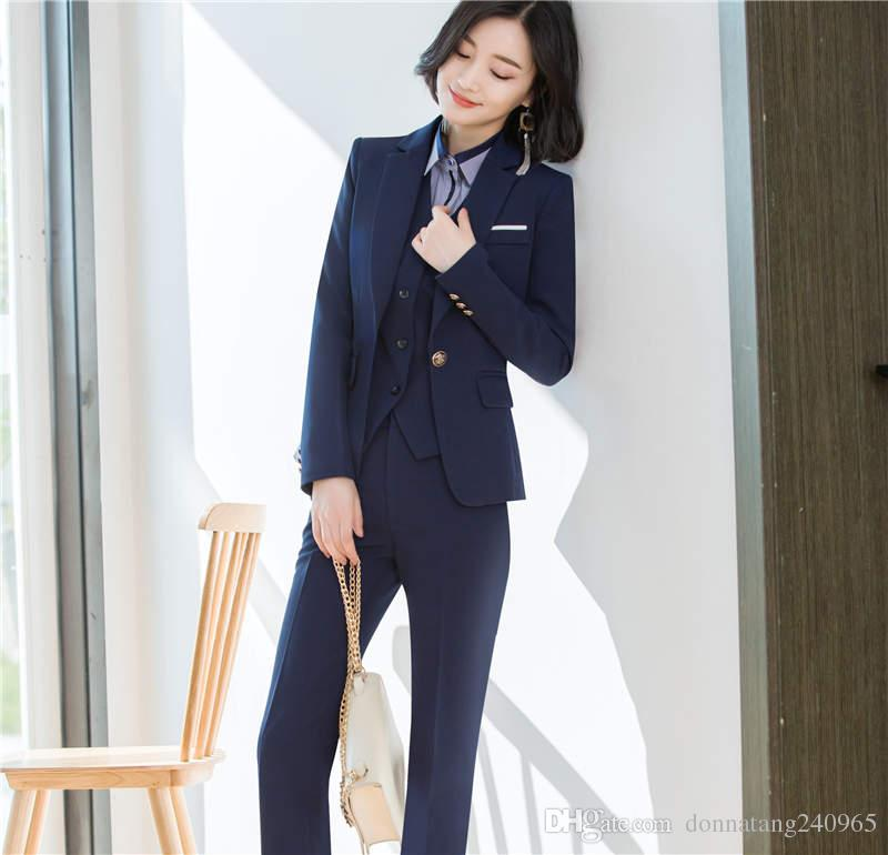 ... Formal Uniform Styles Ladies Black Blue Blazers Women Skirt Suits Skirt  Pant + Jacket + Vest ...