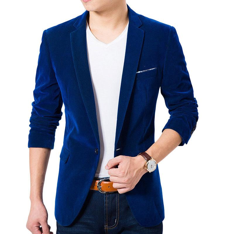 High Quality Royal Blue Velvet Blazer Men 2016 New Autumn Korean Fashion  Mens Slim Single Button Blazer Jacket Wedding Blazers Mens Blazer Jackets  Suits ...