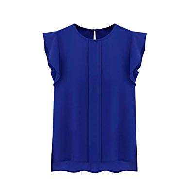 Blouses,Toraway Women Summer Tulip Sleeve Chiffon Blouse Shirt (Medium, Blue )