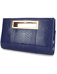 Classic Crocodile Pattern Faux Patent Leather Metal Grip Cut it out Clutch  with Shoulder Strap Womens