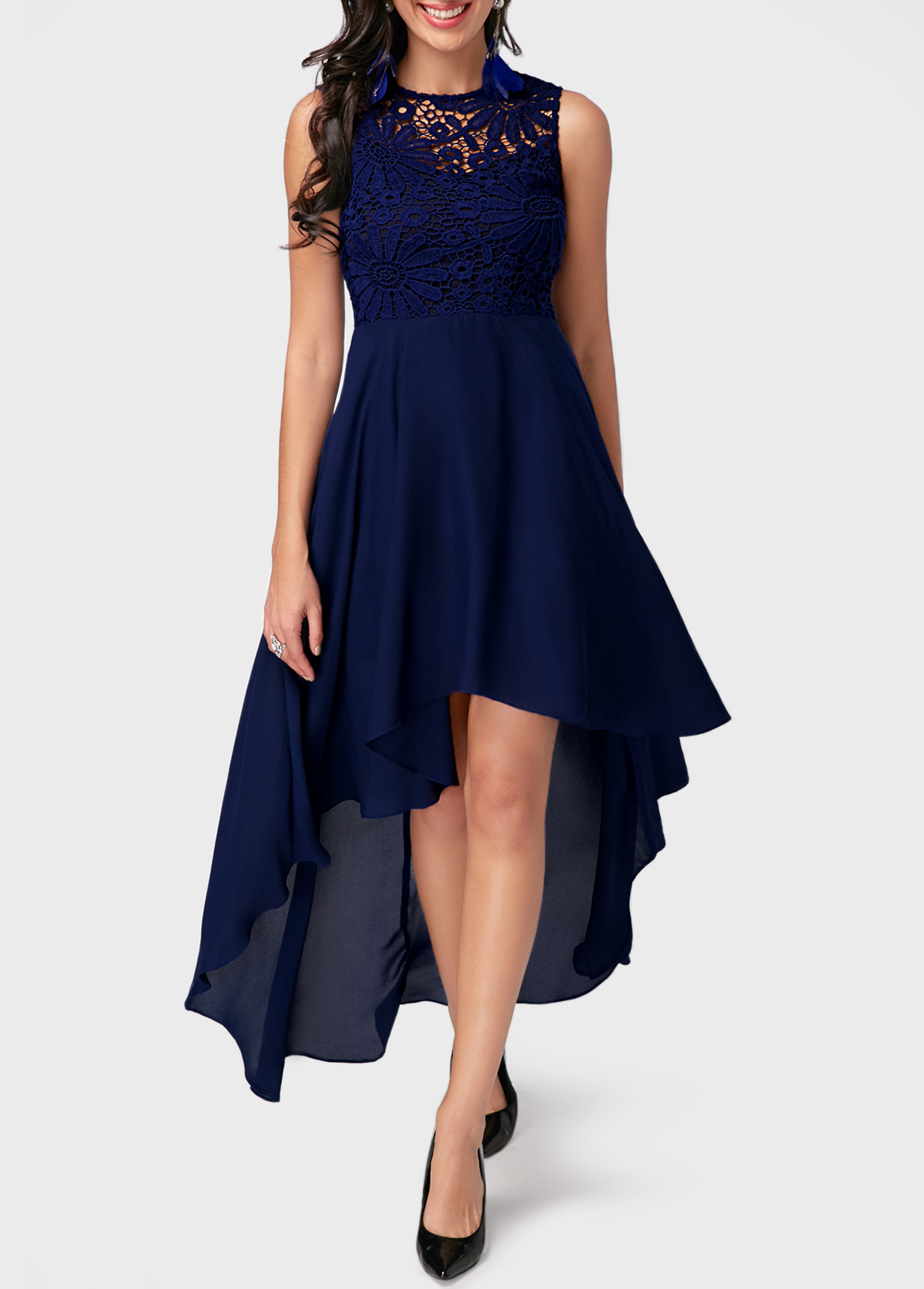 High Low Lace Panel Navy Blue Chiffon Dress