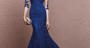 Navy Blue Evening Dresses Long 2017 V Neck 3/4 Sleeves Lace Applique  Mermaid Prom