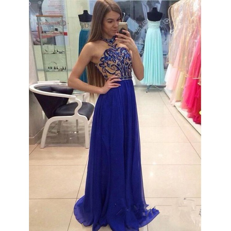 A-line Prom Dresses, Royal Blue Evening Dresses, Long Evening Dresses With  Sequin Sleeveless Halter WF02G49-417