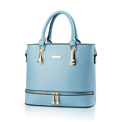 Women Top Handle Satchel Purses and Handbags Ladies Solid Tote Bags (Sky  Blue)
