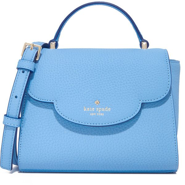 Kate Spade New York Mini Makayla Top Handle Bag ($250) ❤ liked on Polyvore  featuring bags, handbags, shoulder bags, soundview blue, leather flap  handbags, ...